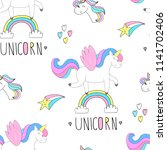 cute unicorn vector pattern   Shutterstock .eps vector #1141702406