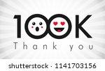 thank you 100 000 followers... | Shutterstock .eps vector #1141703156