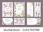 floral wedding invitation with... | Shutterstock .eps vector #1141703780