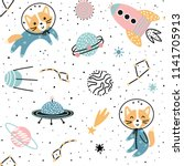 seamless pattern with cute fox... | Shutterstock .eps vector #1141705913