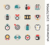 fitness and sport vector icons... | Shutterstock .eps vector #1141709906