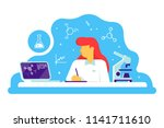 scientific doctor woman working ... | Shutterstock .eps vector #1141711610
