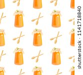 honey jar seamless pattern with ... | Shutterstock .eps vector #1141718840