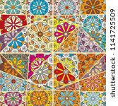 vector patchwork quilt pattern. ... | Shutterstock .eps vector #1141725509