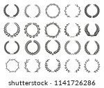 set of laurel wreaths. heraldic ... | Shutterstock .eps vector #1141726286