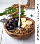 homemade breakfast granola with ...   Shutterstock . vector #1141726946