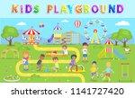 kids playground in green park... | Shutterstock .eps vector #1141727420