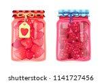 preserved food in jars  fruits... | Shutterstock .eps vector #1141727456