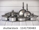 set of stainless pots and pan... | Shutterstock . vector #1141730483