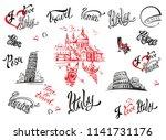 italy. venice  rome  pisa . set ... | Shutterstock .eps vector #1141731176