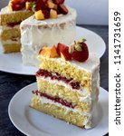 homemade vanilla strawberry cake   Shutterstock . vector #1141731659