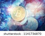 bitcoin cryptocurrency golden... | Shutterstock . vector #1141736870