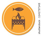 brazier grill with fish icon.... | Shutterstock .eps vector #1141737143