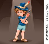 magician child with blue hat.... | Shutterstock .eps vector #1141737503