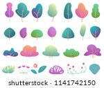 flat trees and bushes in modern ... | Shutterstock .eps vector #1141742150