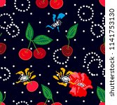 cherries and flowers on black... | Shutterstock .eps vector #1141753130