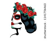 day of the dead woman portrait... | Shutterstock .eps vector #1141756463