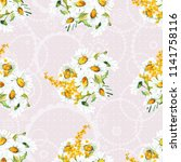 seamless floral pattern with... | Shutterstock .eps vector #1141758116