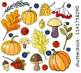 set of autumn elements. autumn... | Shutterstock .eps vector #1141758290