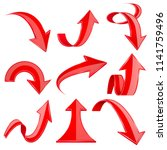 red 3d arrows. bent and curled... | Shutterstock .eps vector #1141759496
