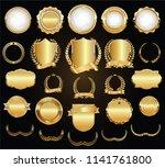 golden shields laurel wreaths... | Shutterstock .eps vector #1141761800
