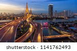 the bhumibol bridge  industrial ... | Shutterstock . vector #1141762493
