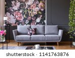 grey lounge with patterned... | Shutterstock . vector #1141763876