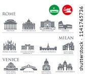 set of italy symbols  landmarks ... | Shutterstock .eps vector #1141765736