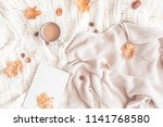 autumn composition. cup of... | Shutterstock . vector #1141768580