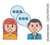 couple with speech bubble... | Shutterstock .eps vector #1141769153