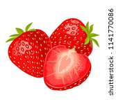 whole and slice strawberry.... | Shutterstock .eps vector #1141770086