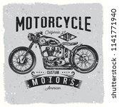 vintage  custom motorcycle ... | Shutterstock .eps vector #1141771940