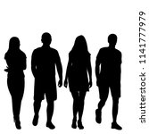 set of silhouettes of walking... | Shutterstock .eps vector #1141777979