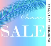 sale banner with palm leaves.... | Shutterstock .eps vector #1141779893