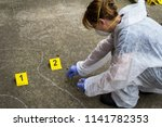 woman forensic expert collects... | Shutterstock . vector #1141782353