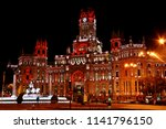 City hall of Madrid illuminated in Christmas night. Palace of Communications (City hall) and Fountain of Cibeles.