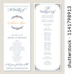 navy blue wedding program.... | Shutterstock .eps vector #1141798913