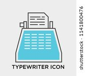 typewriter icon vector isolated ... | Shutterstock .eps vector #1141800476