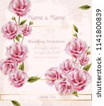 watercolor pink wild roses card ... | Shutterstock .eps vector #1141800839