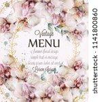 orchid flowers wedding card... | Shutterstock .eps vector #1141800860