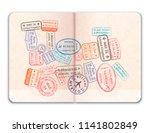realistic open foreign passport ... | Shutterstock .eps vector #1141802849