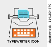 typewriter icon vector isolated ... | Shutterstock .eps vector #1141804970
