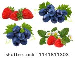 strawberry and grapes isolated... | Shutterstock . vector #1141811303