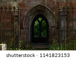 rusty fence and gothic shaped... | Shutterstock . vector #1141823153