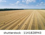Aerial View To Stacked Hay On...