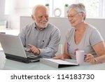senior people using laptop... | Shutterstock . vector #114183730