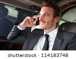 elegant businessman traveling... | Shutterstock . vector #114183748