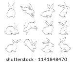 doodle black rabbit outline... | Shutterstock .eps vector #1141848470