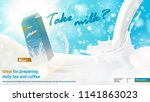 realistic pouring milk ad 22... | Shutterstock .eps vector #1141863023
