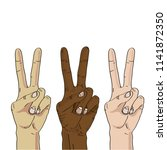 three hands making peace sign.... | Shutterstock .eps vector #1141872350